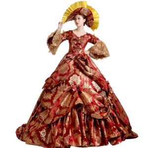 Medieval Renaissance Victorian Dresses Red Gold Masquerade Costumes Queen Ball Gowns For Ladies
