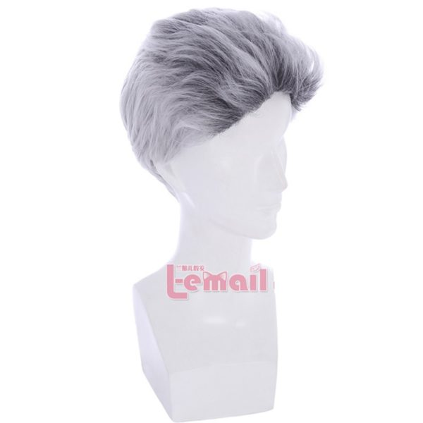 Men's Anime Gray Mixed Cosplay Wigs Handsome Synthetic Short Hairs
