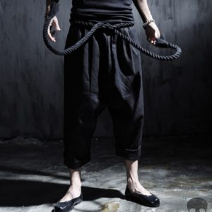 Men fashion punk big rock crotch pants male ankle length trousers vintage culottes bloomers linen harem pant stage costumes