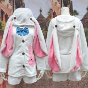 Miku cosplay rabbit ears women's coral fleece derlook sleep set