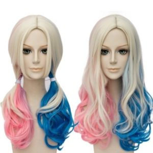 Movie Suicide Squad Harley Quinn Cosplay Wig 55cm Long Curly Synthetic Hair Costume party Wigs