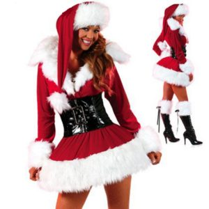 New Year New Arrival Sexy Christmas Costumes For Women Red Long sleeve Strapless Dress Christmas
