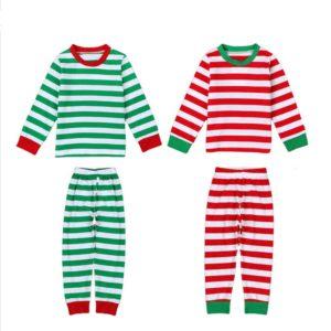 New Years christmas pajamas Kids winter Striped fashion long sleeve boys girls pajamas sets