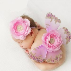 Newborn photography props outfit Soft Butterfly wing costume with Flower headband set