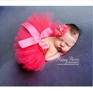 Newborn photography props outfit Soft tutu skirt with Flower headband baby girl dress