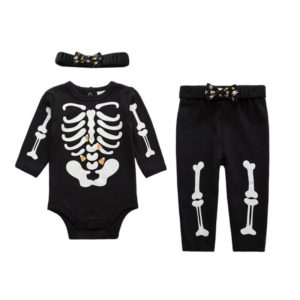 Night light cotton baby costume skull full sleeve romper with headband PP pants 3 pieces set newborn baby girl clothes