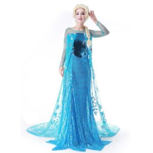 Princess Anna Elsa Queen Girls Cosplay Costume Party Formal Dress