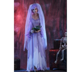 Purple Gothic Ghost Bride Costumes For Women Halloween Cosplay Adult Funny Dress