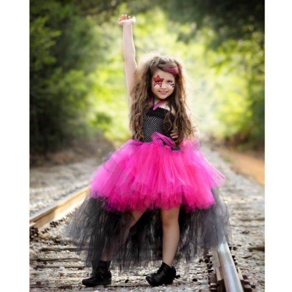 Rockstar Queen Girls Dress Birthday Outfit Photo Prop Halloween Costume Little Girl Tutu Dress Funking Girls Dresses