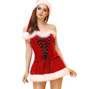Sexy Adult Women Christmas Costume Halloween Party Sweetheart Miss Santa Cosplay Tops+Skirt+Hat