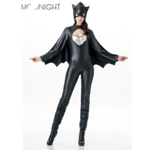 Sexy Batman Costumes Carnival Costume For Women Jumpsuits With Black Cloak Halloween Cosplay