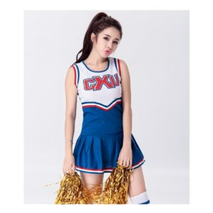 Sexy High School Cheerleader Costume Cheer Girls Uniform Party Outfit Tops with Skirt