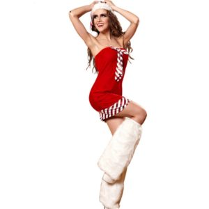 Sexy Red Christmas Dress Santa Claus Costumes for Adults Uniform