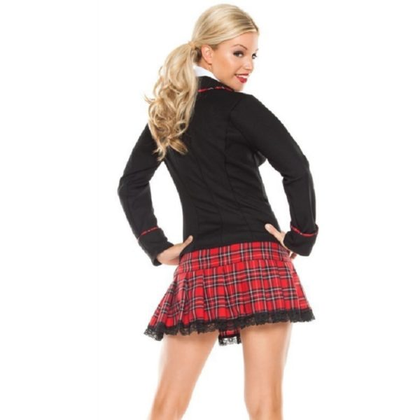 Sexy costumes Seductive Girl Red school uniform for girls adult costume Coat and mini skirt sexy lingerie Entice Underclothes