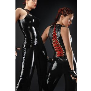 Solid Black Faux Leather Sleeveless Bodysuit Pole Costume