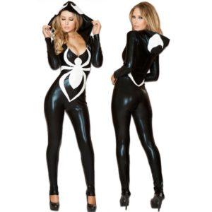 Spider Women Costume Black Zentai Suit Sexy Costumes Women Halloween Girl Hoodie Venom Spiderman Jumpsuit