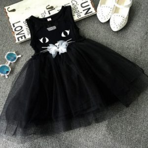 Summer Girl Dresses Cat Print Girls Clothes Baby Casual Dress Princess Party Children Costume