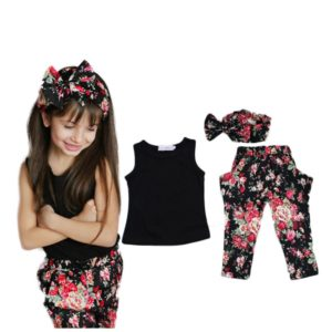 Summer style Girls Fashion floral casual suit children clothing set sleeveless outfit +headband new kids clothes set
