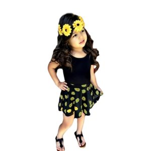 Sunflower Printed Skirt with tee Girls Fashion casual suit children clothing set