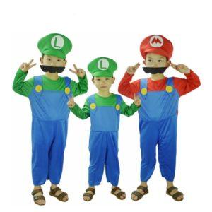 Super Mario halloween costume for kids include jumpsuit hat mustache
