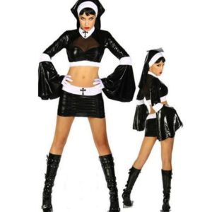 Virgin Mary Nuns Costumes for Women Sexy Faux Leather Black Nuns Costume Arabic Religion Monk Ghost Uniforms Halloween Costume