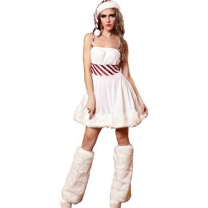 White Fantasy Christmas Costume Women Santa Costume Sexy Cosplay Halloween Fancy Dress