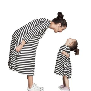 Winter Full sleeve vestido mother daughter dresses fashion Striped dress matching mother daughter clothes