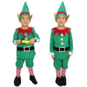 Winter Green Elf Boy Christmas Santa Claus Cosplay Costumes