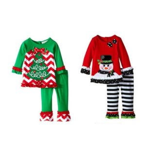 Winter New Years Outfit Kids Girls Fashion Christmas outfit Thanksgiving day suit santa tree cartoon pattern