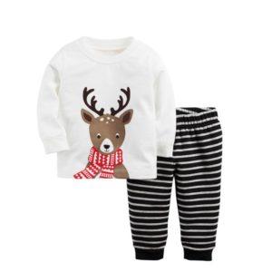 Winter little helper Reindeer printed with striped pants long sleeve christmas pajamas