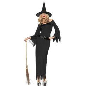Witch Dress Sexy Costumes For Women Halloween Christmas Costume Black Long Dress