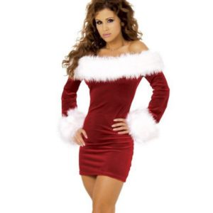 Women Christmas Dress Sexy Red Christmas Costumes Santa Claus for Adults