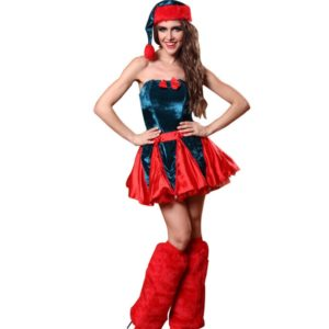 Women Christmas Halloween Costume Sleeveless Blue and Red Girl Elf Dress