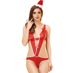 Women Christmas Lingerie Cosplay Red Sexy Pajama Sets Exotic Conjoined Lingerie +Headwear