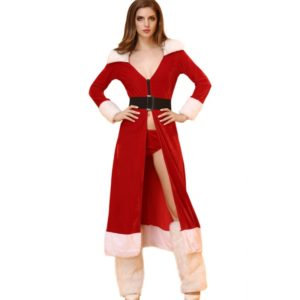 Women Christmas Long Dress Sexy Red Christmas Costumes Santa Claus for Adults Uniform Kimono Xmas Costume+G string+Legs