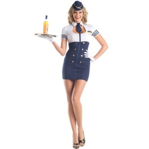 Women Cosplay Fancy Dress Airline Stewardess Uniform