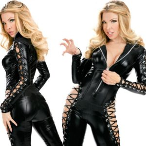 Women Sexy Solid Black Faux Leather Bodysuit Hollow Out Catsuit Costume Hot Sexy Jumpsuits Long Sleeve