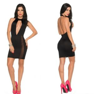 Womens Sexy Club Dress Party Night Clubwear Dresses V Neck Backless Summer Mini Dress Casual Slim Hip Sleeveless