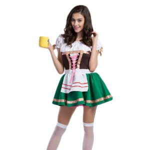 Womens Traditional German Bavarian Beer Girl Costume Sexy Oktoberfest Festival Carnival Party Fancy Cosplay Dress