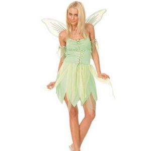 Woodland Green Gorgeous Fairy Princess Tinkerbell Party Dress Halloween Party Costume Medieval Costume Renaissance