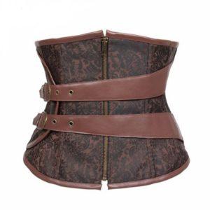Zipper Up Bodysuit Gothic Steel Boned Corsets Bustier Brown Corselet underbust slim bustiers