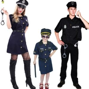 free size Halloween Police Costume for Women Men Girl Sexy Cop Outfit Party Costumes Fancy Dress