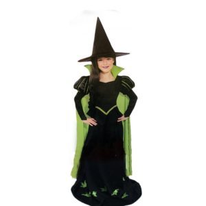 kids girls Green witch costumes sets girls halloween outfits include hat and dress