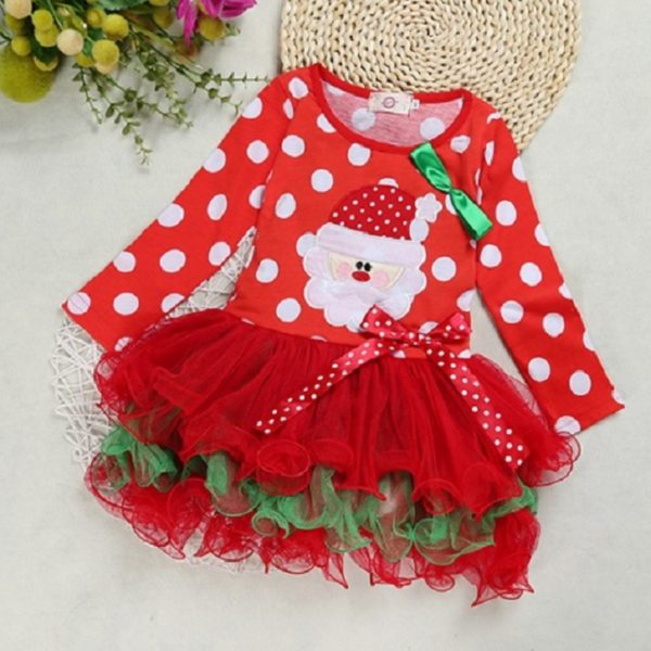 new Christmas girl dress red long-sleeved autumn dress dot baby clothes cotton Christmas party costume kids clothes